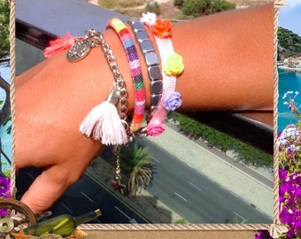 Womens Boho friendship cuff roses, coins and tassels, Multi color Ibiza style tassel friendship bracelet,