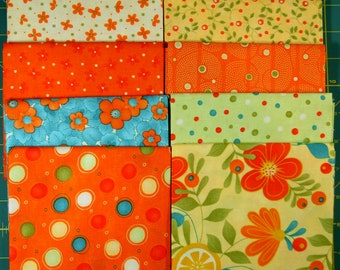 Set of 8 Fat Quarters, Fresh Squeezed by Sandy Gervais for Moda, Orange, Yellow, Green FREE SHIPPING