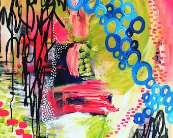 "You are a deep ocean. Original acrylic painting on canvas. 48"" x 24"" x 1""."