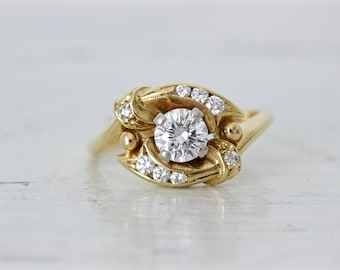 Vintage Engagement Ring | 0.50 Carat Diamond Solitaire Ring | Unique Halo Ring | Mid Century Wedding Ring | 18k Yellow Gold Ring | Size 6.5