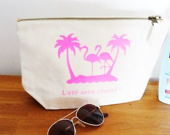 great Kit for the summer will be hot Flamingo Pink clutch bag/makeup/keys - Beach gift MOM girlfriend