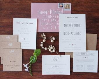 Modern Heart design Wedding invitation suite- SAMPLE ONLY