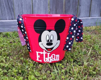 Personalized Mickey Mouse Easter Bucket; Minnie Mouse Bucket; Disney Bucket