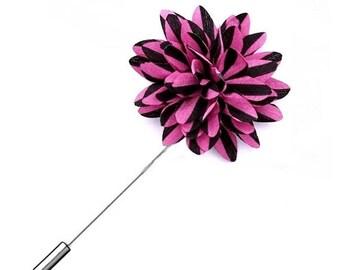 Fuschia Pink Black Lapel Pin Striped Lapel Pin Groomsman Wedding Boutonniere Flower Pin Buttonhole Groomsmen Groomsman  Groom Best Man