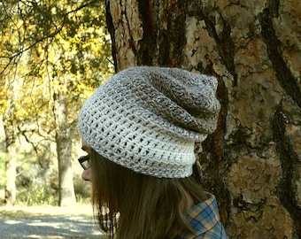 Light Weight Beanie Hat - Crochet Ombre Stripe Hat - Mens Womens Slouchy Beanie - More Color Options