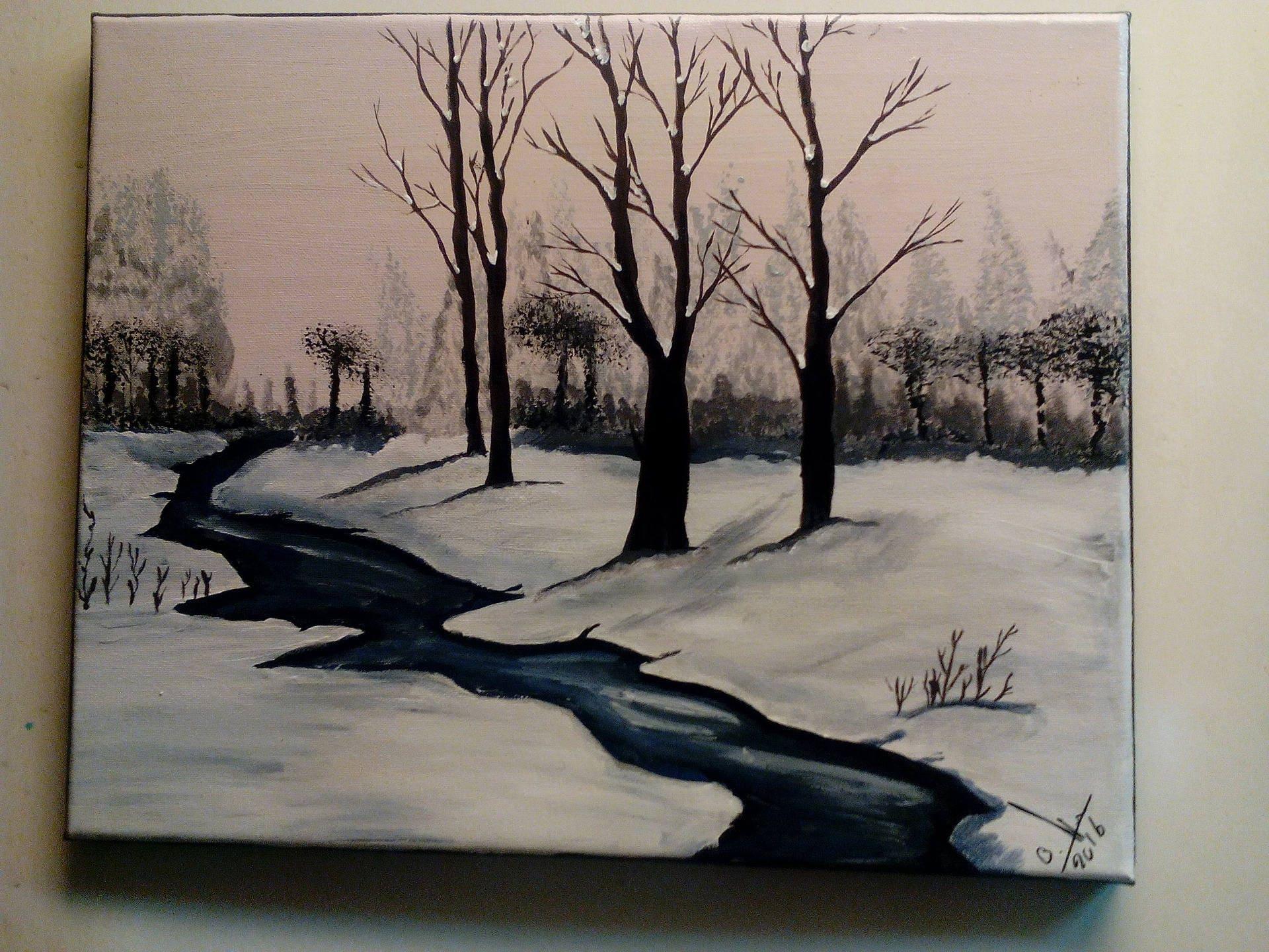 Paysage d hiver avec rivière peinture acrylique.