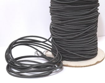 10 yd /9 meters Deep Gray Drawcord Round Drawstring Elastic Cord Rope Elastic Thread crafts  DIY 2mm Diameter ET41