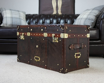 Antique Leather Topped English Steamer Trunk Coffee table