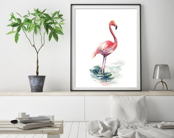 Flamingo fine art print, flamingo watercolor painting print, bird print, flamingo art, pink flamingo wall art print