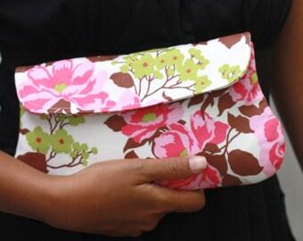 Pink Floral Clutch, Clutch Purse, Padded Pouch - Rose Bouquet clutch