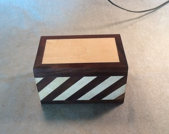 Keepsake box made from Maple and Walnut with Striped design.