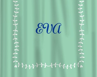 Custom Shower Curtain -Simplicity Leaf Border and monogram in your colors - Shown Mint & White, Royal Mono, can do any color
