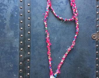 Bougainvillea - OOAK Handmade Braided Fabric Necklace
