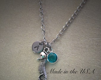 Personalized Swarovski Crystal birthstone seahorse necklace