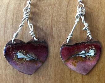 ABO Enamel Heart Earrings