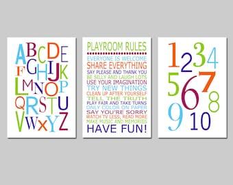 Playroom Rules Alphabet Numbers Set - Kids Wall Art Trio - Set of Three 13x19 Nursery Art Prints - CHOOSE YOUR COLORS