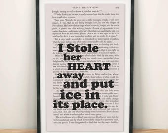 Great Expectations Book Page Art I Stole Her Heart Away Print Quote