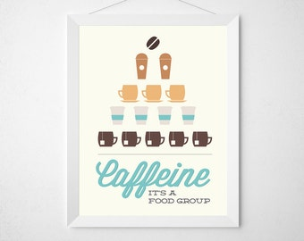 Caffeine It's a Food Group - Coffee Tea Print Typography - Poster wall art decor kitchen white cup brown tan aqua blue minimal foodie gift