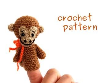monkey crochet pattern, animal finger puppet, digital description, PDF file, how to make a monkey puppet, educational toy, make it yourself