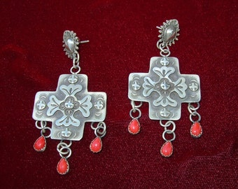 E124 Sterling Silver Sacred Heart and Cross with Coral Drops Southwestern Sterling Silver Jewelry Native Style made in Santa Fe