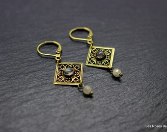 Bronze art deco earrings
