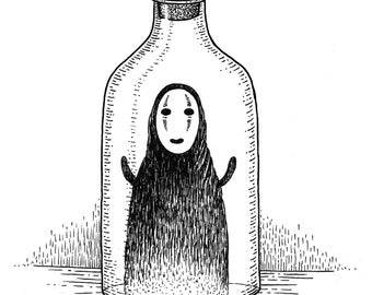 Bottled Spirit- A4 print- Spirited Away No-Face Inspired- Free worldwide shipping