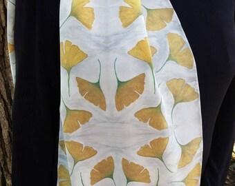Handmade silk scarf - Ginkgo leaf scarf - Nature Themed scarf - Yellow Scarf - lightweight silk scarf - painted silk scarf - wearable art