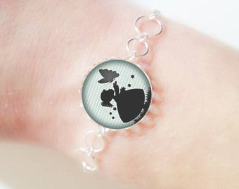 Bracelet fine silver with 18 mm cabochon * girl * (050218)