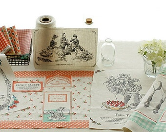 """Picnic on Some Special Day - Cotton Linen Fabric - 1 Panel - 120cm x 90cm (47"""" x 35"""")"""