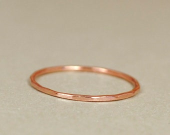 Solid Pink Gold Ring/ Rose Gold Ring/ Solid Rose Gold,14k Gold/Thin Gold Band/Custom Teeny Weenie Slightly Beaten Ring *Solid 14k Rose Gold*