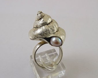 "SILVER RING ""Seashell"" unique handmade sterling silver ring,OOAK"