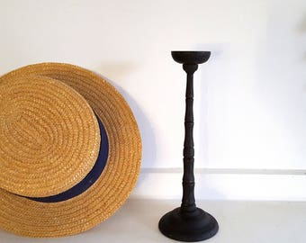 Black Vintage wood hat stand French fashion millinery display