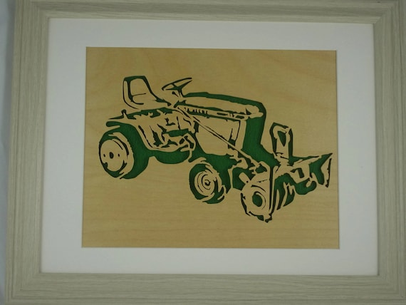 John Deere 317 Garden Tractor and 49 Snowblower Handmade Birch Wood With A Scroll Saw