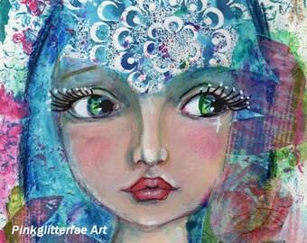 Whimsical Girl, Mixed media, Fantasy art, Children's Art, Wall art, Colorful Print