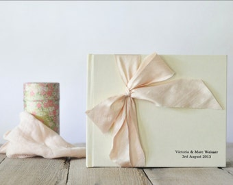 Guest Book Wedding - Wedding Sign In Book Guest - Silk Dupioni Bow by Claire Magnolia