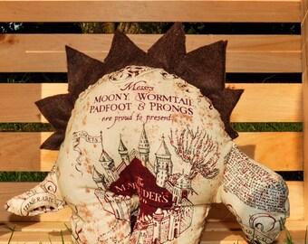 Nerdisaurus Handmade Harry Potter Marauder's Map Stuffed Stegosaurus Dinosaur Toy