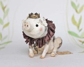 Wattefigur Schweinchen mit Krönchen Figurine Spun Cotton