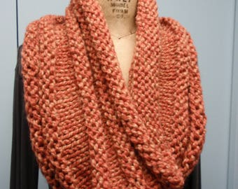 Hand Knitted Shrug Shawl with Horizontal Design Muted Orange