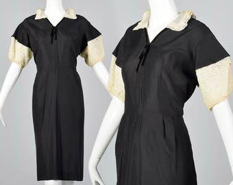 Large 1950s Black Dress Black Pencil Dress Lace Trim Short Sleeve Pencil Skirt Spring Summer Lightweight 50s Vintage