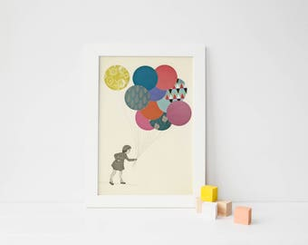 Balloon Art, Little Girl Print for Nursery, Whimsical Wall Art - Party Girl