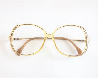 Vintage 1980's Zeiss Handpainted Oversized Plastic Eyeglasses with Crystals