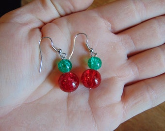 Christmas Earrings, Holiday Earrings, Red and Green Earrings, Red Earrings, Green Earrings