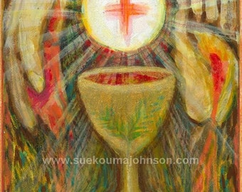 By His Blood - The Eucharist - Body of Christ - Archival Print - First Communion - Ordination Gift
