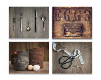 Rustic Kitchen Decor Set Of 4   Brown Kitchen Art, Rustic Kitchen Art,  Farmhouse