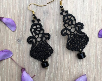 "Black chandelier lace Earrings ""Princess""  - boho earrings - chandelier earrings - unique jewelry"