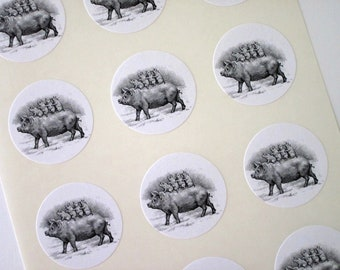Pig and Piglets Stickers One Inch Round Seals