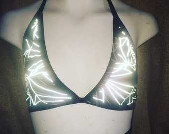 Triangle top light reflective refraction halter crop triangle top Festival fashion rave wear