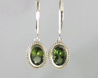simple elegant faceted Czech moldavite sterling silver lever back earrings 8x6mm oval tektite meteorite