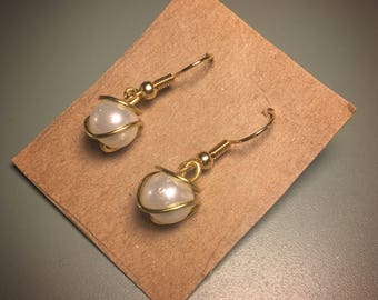 Wire Wrapped Glass Pearl Earrings
