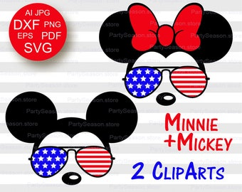 Mickey Sunglasses USA Flag svg Minnie Sunglasses Svg Bundle American Flag July 4th Mickey SVG Minnie SVG Disney Family Shirts Independence